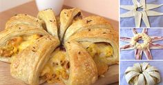 Slaná snídaňová hvězda s vejci, sýrem a slaninou
