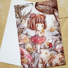 "Mushroom+Girl  Original+Illustration    <b>Details:</b>  Printed+on+200+gsm+card+stock  6""+x+4""+(A6+Postcard+size)"