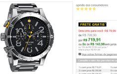 Relógio Masculino Cronógrafo Nixon Catraca Invertida Pulseira de Aço Prateada A486-000 << R$ 71991 em 5 vezes >>