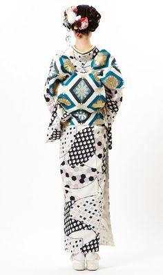 "thekimonogallery: ""Furifu designed kimono outfit. 2013, Japan "" http://bellanblue.com"
