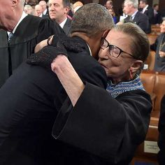 I LOVE this sweet picture - President Obama gives a big hug to Supreme Court Justice Ruth Bader Ginsburg at SOTU address. Jan. 20, 2015.