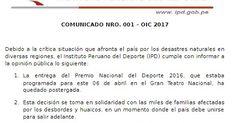 SE POSTERGA PREMIO NACIONAL DEL DEPORTE 2016