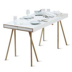 Doppeldecker mit Holzböcken   Tische, Beistelltische, Arbeitstische