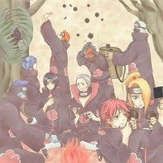 Akatsuki, Kisame, Itachi, Sasori, Deidara, Tobi, Hidan, Kakuzu, Pain, Zetsu, Konan, funny, party; Naruto