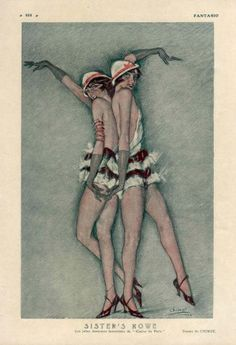 Chimot 1925 Sister's Rowe Casino de Paris Chorus Girls