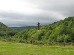 The 'Guardian of the Valley' keeping watch - Six Bells Colliery  near St Illtyd, Blaenau Gwent. The statue was erected in 2010 to commemorate a mining disaster that happened in 1960.  - photo courtesy of Gareth James.