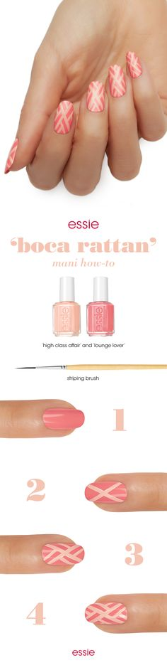 A little scandalous, a lot of luxe. Nothing takes your look to the next level like essie Spring 2016 collection. Recreate this 'boca rattan' nail art mani with a blush nude and peach pink and instantly escape to a chic retreat -- you deserve a treat.