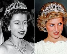 Young Queen Elizabeth II and Princess Diana wearing the Lover's Knot tiara