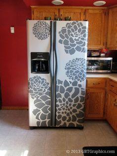 """Custom vinyl project. Dahlia flower decal art as fridge decor. Largest dahlia measures 31""""w x 35"""" tall."""