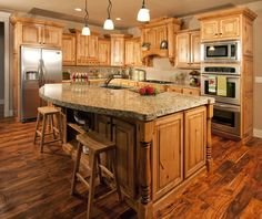 What countertop would look good with hickory cabinets - Google Search