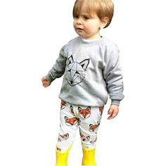 d47df8360 Baby Boys Clothes Mchoice 1Set Infant Baby Boy Girl Cartoon Fox Print  Tshirt TopsPants Outfits Clothes