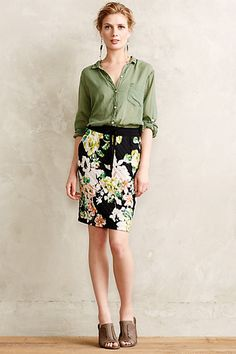 Quilted Floral Pencil Skirt - anthropologie.eu