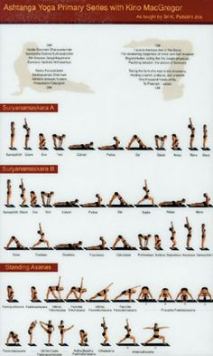 Primary series; Surya Namaskar A+B, standing sequence