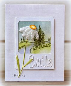 smile card by Birgit.... flower made with ribbon scraps!