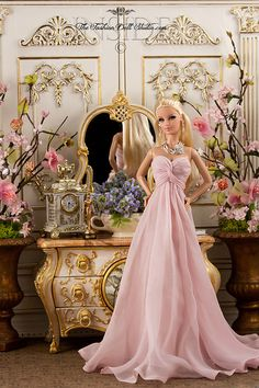 Barbie in pink flowing gown