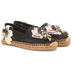 Dolce & Gabbana Embellished Lace Espadrilles (10.212.515 IDR) ❤ liked on Polyvore featuring shoes, sandals, black, lace-up espadrilles, black espadrilles, dolce gabbana shoes, embellished shoes and embellished sandals