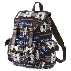 Mossimo Supply Co. Ethnic Printed Double Buckle Backpack - Blue. Oh, how I want it. But, saving money for now.