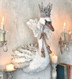 How beautiful is this swan? creates beautiful decor for her home! She used a variety of moulds on the handmade crown as well as waxes, gesso and more. See her page for closeups and how she Textile Sculpture, Paper Mache Sculpture, Soft Sculpture, Textile Art, Paper Dolls, Art Dolls, Paper Mache Animals, Deco Floral, Paperclay