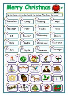 Match the word and picture. Use on screen for a game of 'Splat!'. Or a game of 'Taboo'. Get the kids to draw their own pictures for the words... Cut the pictures out for memory games... - ESL worksheets