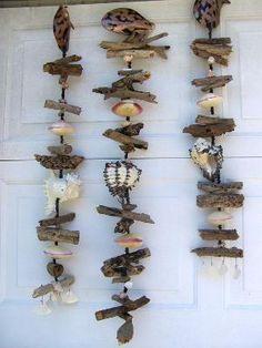 Sea Shells and Driftwood Chimes Spinner Beach Cottage Nautical Decor Seashell Art, Seashell Crafts, Beach Crafts, Driftwood Mobile, Driftwood Art, Driftwood Wreath, Driftwood Projects, Driftwood Ideas, Nature Crafts