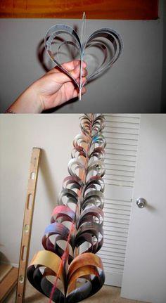 DIY paper heart ornaments