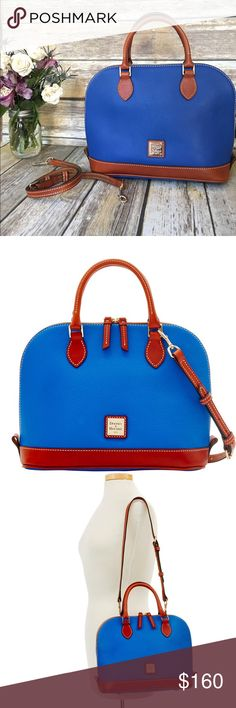 """DOONEY & BOURKE Pebble Zip Satchel in French Blue DOONEY & BOURKE Pebble Grain Zip Satchel in French Blue. H 9.5"""" x W 5.25 x L 12. Two inside pockets, one is a zip pocket. Handle drop is 4"""". Strap drop is 15.5"""". Lined in red fabric. Zip closure. Very durable leather. Only been used one day. Like new condition. Smoke free home. Dooney & Bourke Bags Satchels"""
