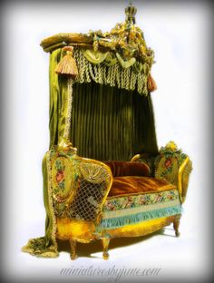 Miniature Dollhouse Rococo Daybed Settee by minijune on Etsy, $950.00