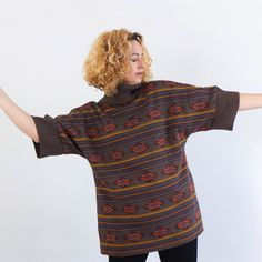 80/'s vintage argyle cardigan sweater   color block geometric  pink and purple  size L