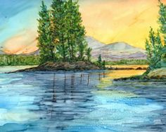 Alcohol Ink Print Mountain Scene Lake Placid by LindaFlynnArt