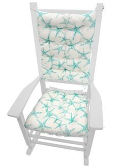 Sea Shore Starfish Aqua Porch Rocker Cushions   Indoor / Outdoor   Latex  Foam Fill   Fade Resistant