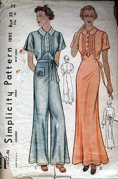 1930's Simplicity Pattern for a nightgown and one piece pajamas