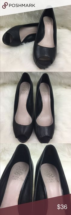 Vince Camuto Black Leather Peep Toe Heels Great for the office leather peep toes! Leather upper and sole. Some small scuffs shown in pictures. Size 7 1/2 medium. 3 inch heel Vince Camuto Shoes Heels