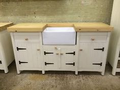 Pine Traditional Freestanding Kitchen Handmade Belfast Butler Sink Cupboard  Unit