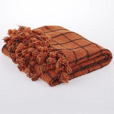 Orange & Black Handmade Pom Pom Fringed Blanket - Focalpoint - Today on Temple and Webster!