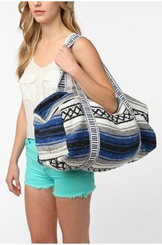 upcycled duffel bag made from vintage woven mexican blankets