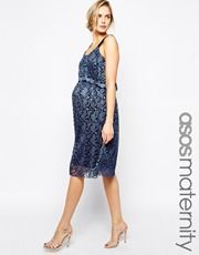 ASOS Maternity Exclusive Midi Dress with Double Layer in Pleated Lace