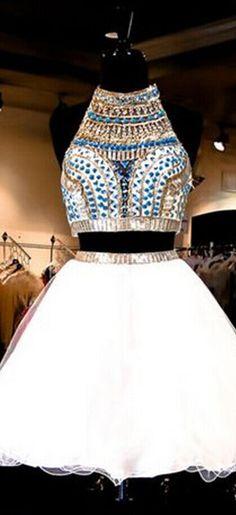 White Homecoming Dress,2 Piece Home