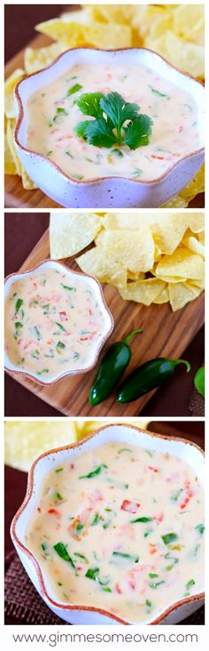 White Cheese & Spinach Dip -- my friends and family are obsessed with this queso!  Perfect for appetizers or just a fun dip this summer. | gimmesomeoven.com #appetizer #vegetarian