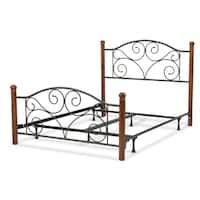 doral complete bed with metal panels and dark walnut wood posts matte black finish california king, Matte Black/Brown Wrought Iron Bed Frames, Steel Bed, Metal Beds, Black Metal Bed, Wood Post, Bed Styling, Leggett And Platt, Headboard And Footboard, Wrought Iron Beds