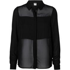 Vero Moda Long Sleeved Shirt ($20) ❤ liked on Polyvore featuring tops, shirts, blouses, camisas, long sleeve chiffon top, chiffon shirt, shirts & tops, see through tops and sheer long sleeve top