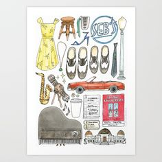 Buy La La Land Flat Lay Illustration Art Print by flatlaydesign. Worldwide shipping available at Society6.com. Just one of millions of high quality products available.