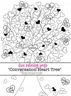 Conversation Heart Tree Free Coloring Page by U Create