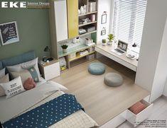 Designed & Visualized by EKE Team Study Room Design, Small Room Design, Kids Room Design, Small Room Bedroom, Home Decor Bedroom, Bathroom Design Luxury, Home Interior Design, Bedroom Workspace, Bedroom Built In Wardrobe
