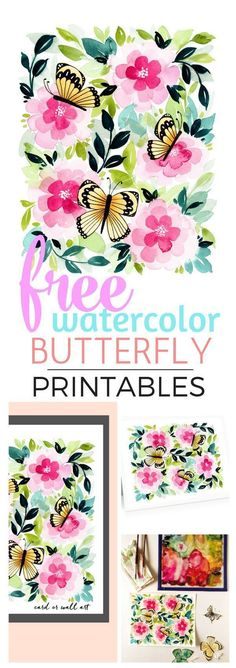 This sweet watercolor is free to print for wall art or note cards! Suprise someone who loves summer with this thoughtful, high-quality art. Diy Craft Projects, Fun Crafts, Amazing Crafts, Sewing Projects, Paper Crafts, Printable Cards, Free Printables, Printable Worksheets, Butterfly Watercolor