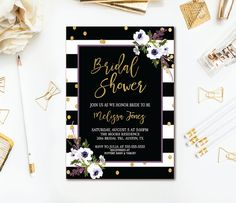 41 best bridal shower invitations images on pinterest in 2018 bridal shower invitation black white stripe gold confetti wedding shower purple watercolor flora filmwisefo
