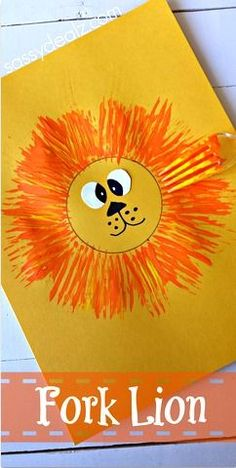 Lion Craft for Kids Using a Fork #Zoo art project | CraftyMorning.com