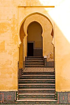 Morocco. I love the horseshoe arches when used in secular architecture.
