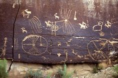 This portion of the Great Gallery, found in Horseshoe Canyon, is an example of a Barrier Canyon Style pictograph (painted rock art). Description from pinterest.com. I searched for this on bing.com/images