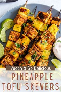 These Pineapple Tofu Skewers are super simple to throw together and great for grilling season (or really anytime using a grill pan!). The tofu can be prepped and marinated ahead of time making assembly quick and easy!