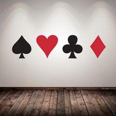 Pas cher Poker Sticker Pro Cartes Spade Club Coeur Diamant Mur Autocollant…